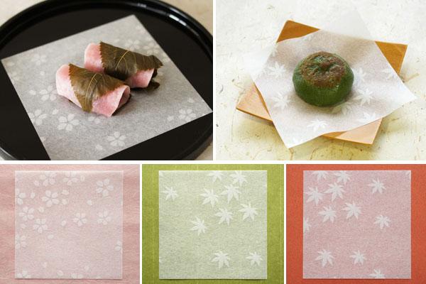 和菓子の敷き紙-透かし和紙-桜ともみじ