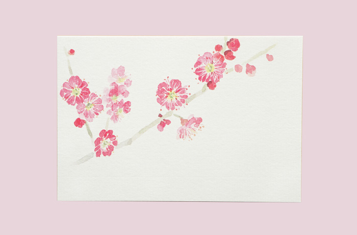 和紙の絵葉書-梅の花