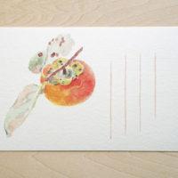 秋の絵はがき-柿